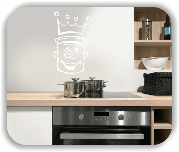 Wandtattoos Spruch Küche - Kochtopf mit Krone