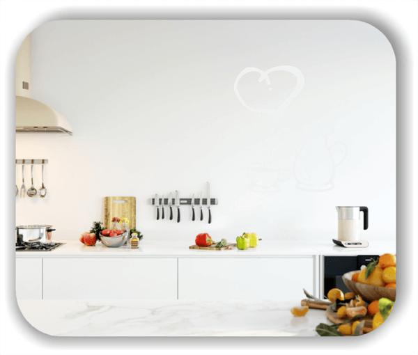 Wandtattoos Spruch Küche - Kaffekanne mit Tasse und Herz