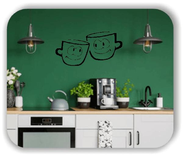 Wandtattoos Spruch Küche - 2 Kaffetassen