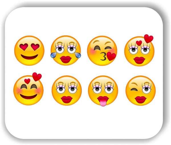 Strichgesicht - Emoticon - 8 verschiedene Motive - Liebe Gesichter