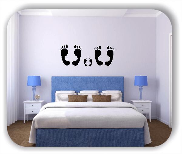 Wandtattoos Schlafzimmer - 2 Große Füße - 1 Kleine Füße