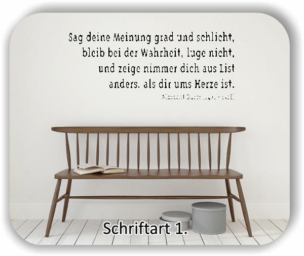 Wandtattoos - Sprüche & Zitate - Sag deine Meinung grad und...