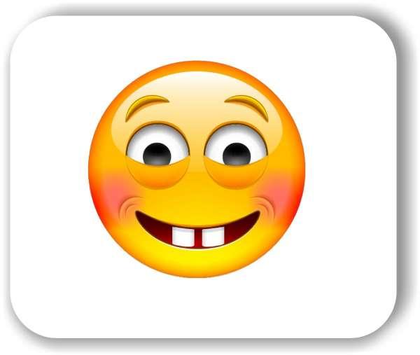 Strichgesicht - Emoticon - mit roten Wangen