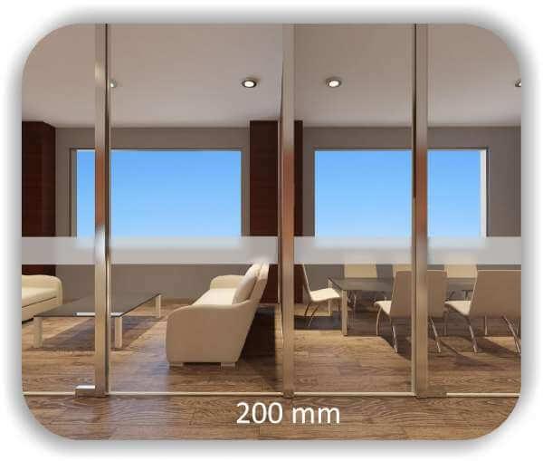 Milchige Sichtschutzfolie / Durchlaufschutzfolie – Streifen – Höhe: 20 cm
