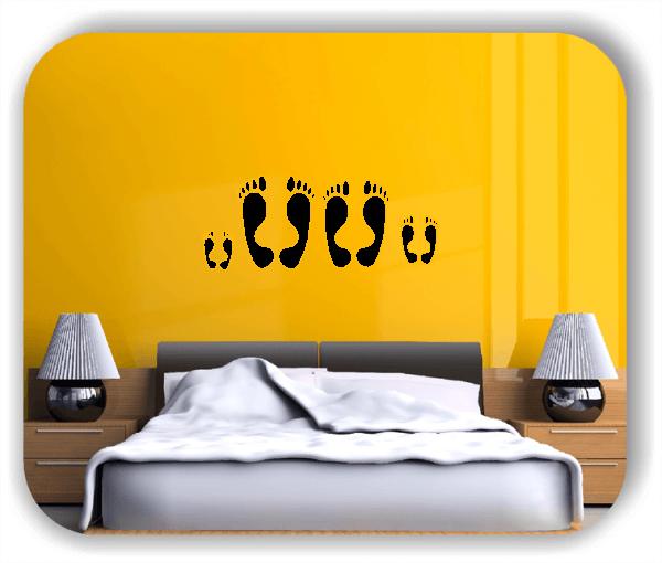Wandtattoos Schlafzimmer - 2 Große Füße - 2 Kleine Füße