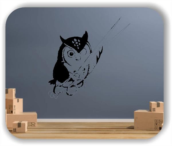 Wandtattoos Tiere - Blinzelnde Eule mit Schere