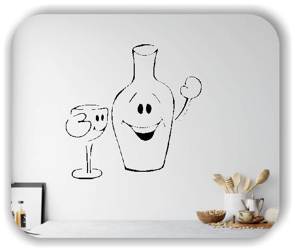 Wandtattoos Spruch Küche - Winkende Flasche