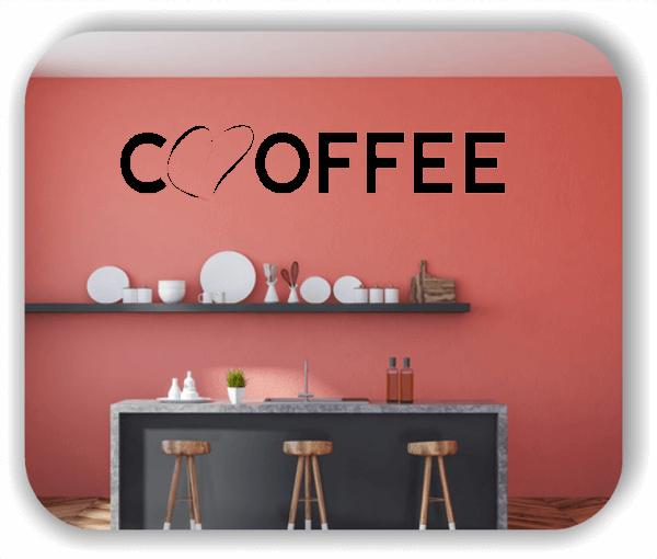 Wandtattoos Spruch Küche - Coffee - mit Herz