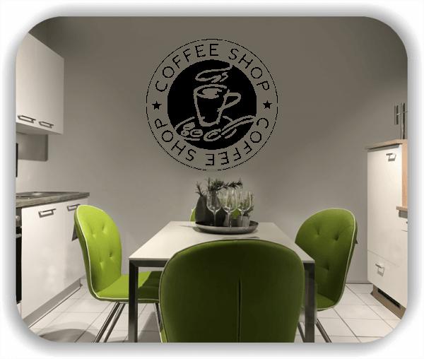 Wandtattoos Spruch Küche - Coffee Shop mit Cappuccino Tasse