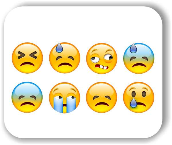 Strichgesicht - Emoticon - 8 verschiedene Motive - Traurige Gesichter