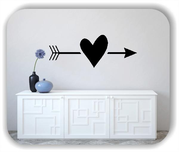 Wandtattoos Liebe - Herz mit Pfeil