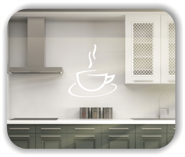 Wandtattoos Spruch Küche - Dampfende Kaffeetasse