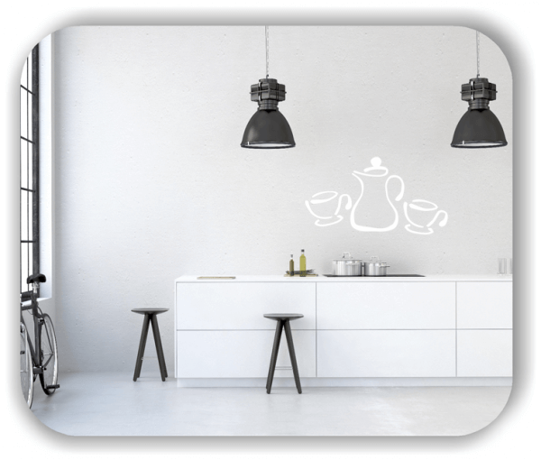 Wandtattoos Spruch Küche - 2 Tassen mit Kaffeekanne