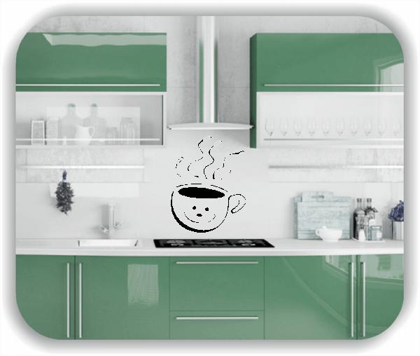 Wandtattoos Spruch Küche - Grinsende Kaffeetasse