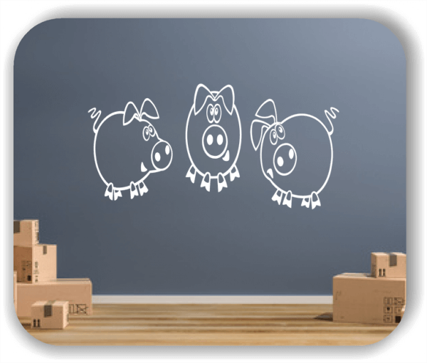Wandtattoos Tiere - 3 kleine Ferkel