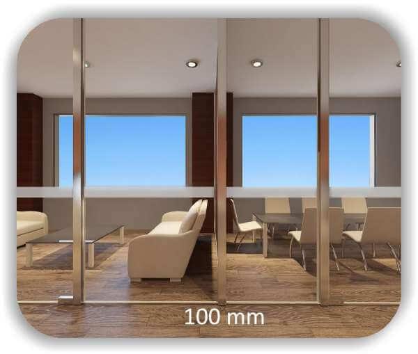 Milchige Sichtschutzfolie / Durchlaufschutzfolie – Streifen - Höhe: 10 cm