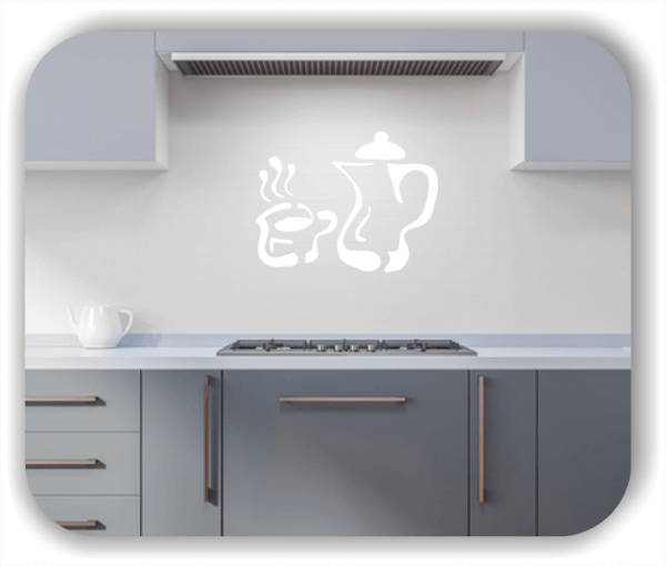 Wandtattoos Spruch Küche - Umrisse Kaffeekanne und Tasse