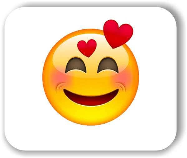 Strichgesicht - Emoticon - Lächelndes Gesicht mit 2 Herzen