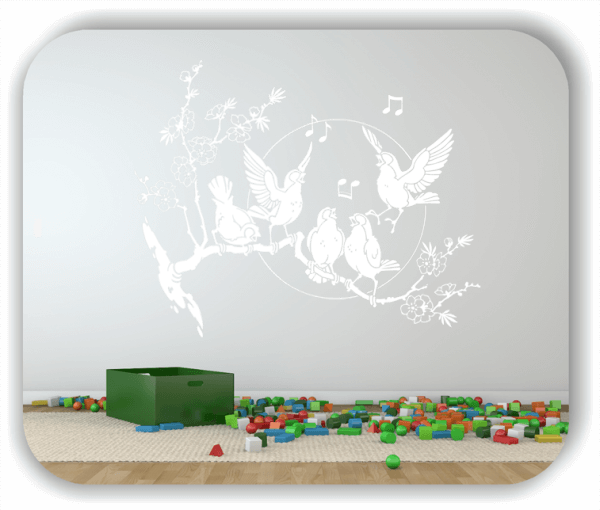 Wandtattoos Tiere - Musizierende Vogelschar