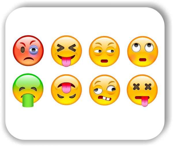 Strichgesicht - Emoticon - Emoticon - 8 verschiedene Motive - Genervte Gesichter