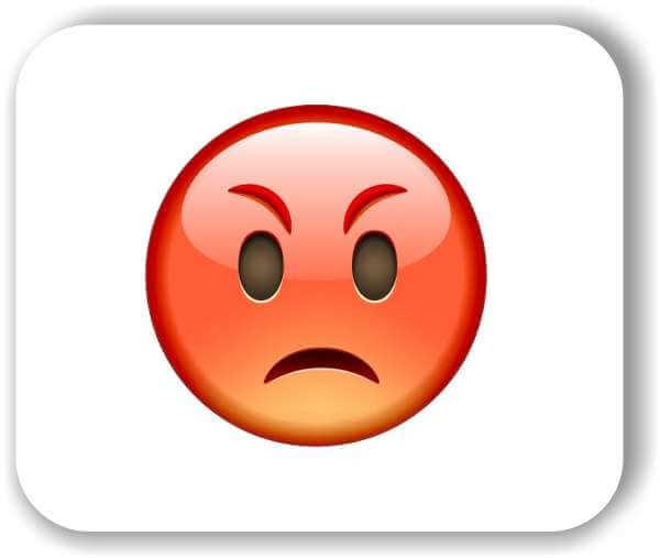 Strichgesicht - Emoticon - Rotes schmollendes Gesicht