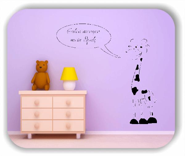 """Wandtattoos Tiere - Giraffe mit """"Guten morgen mein Spatz"""""""