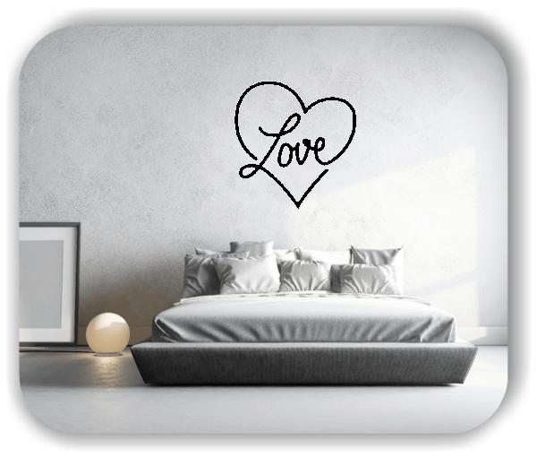 Wandtattoos Liebe - Herz mit Love