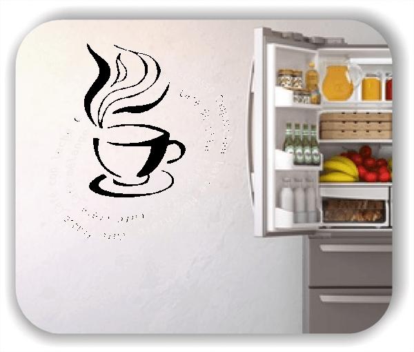 Wandtattoos Spruch Küche - Kaffeesorten mit dampfender Tasse