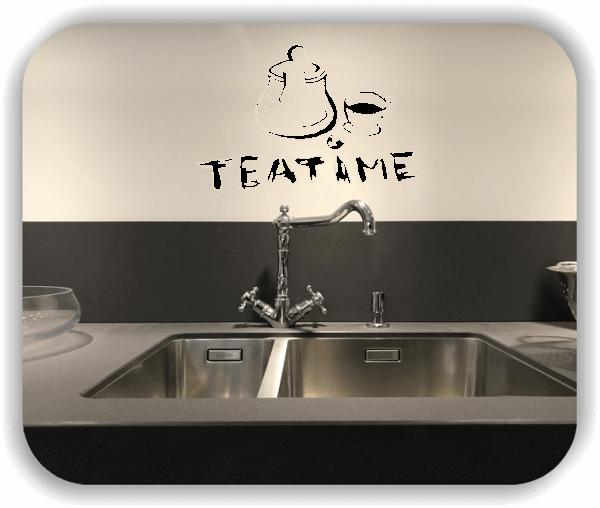 Wandtattoos Spruch Küche - Teatime - mit Kanne und Tasse