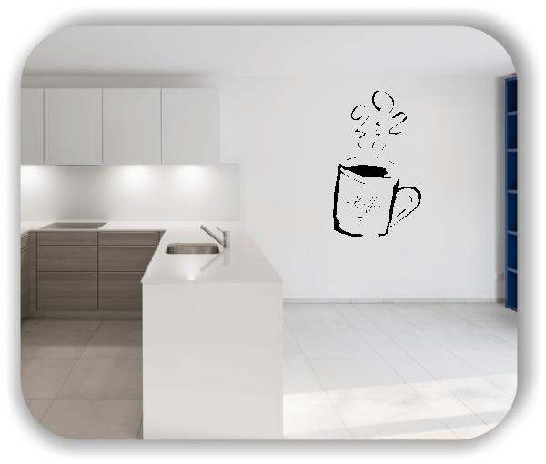 Wandtattoos Spruch Küche - Dampfender Kaffeebecher