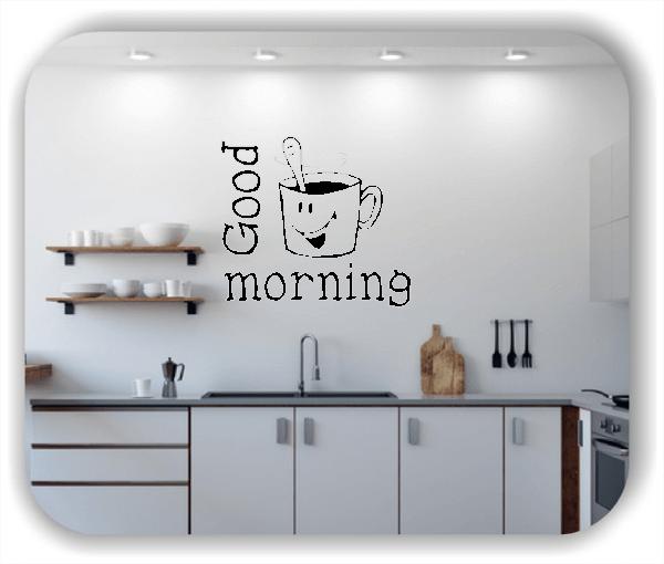 Wandtattoos Spruch Küche - Freche Tasse mit Good Morning