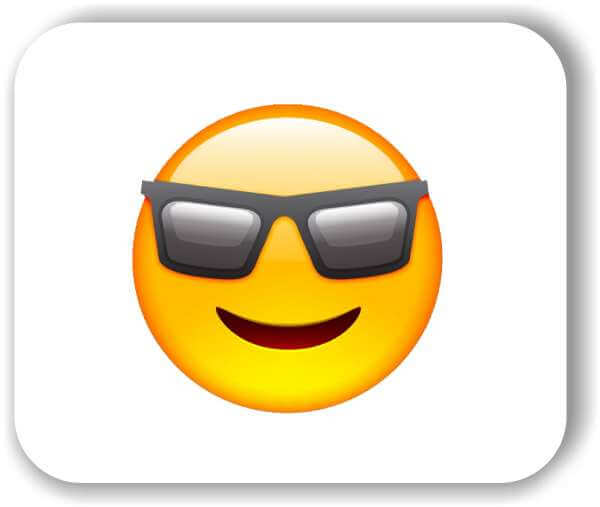 Strichgesicht - Emoticon - Cooles Gesicht mit Sonnenbrille