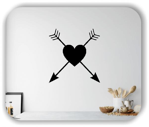 Wandtattoos Liebe - Herz mit 2 Pfeilen
