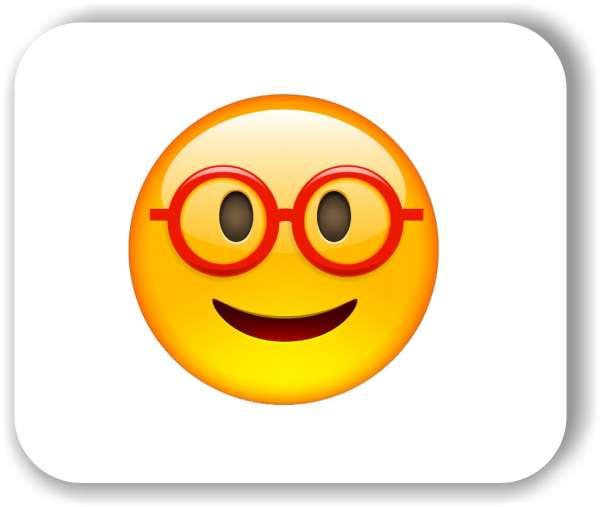 Strichgesicht - Emoticon - mit riesiger Brille