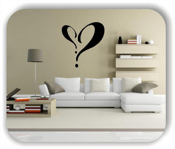 Wandtattoos Liebe - 2 Fragezeichen als Herz