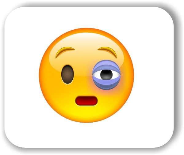 Strichgesicht - Emoticon - Gesicht mit blauem Auge