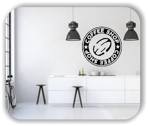Wandtattoos Spruch Küche - Coffee Shop mit Kaffeebohne