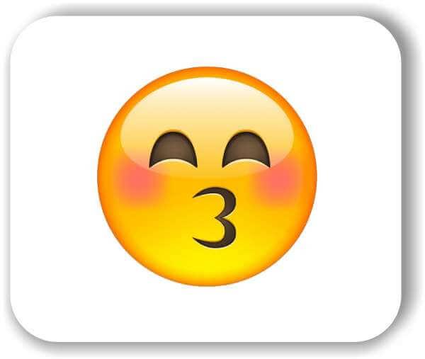 Strichgesicht - Emoticon - Küssendes Gesicht mit lächelnden Augen