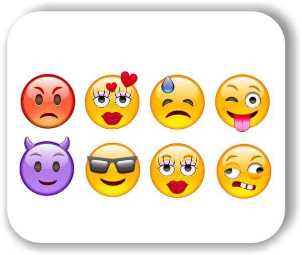 Strichgesicht - Emoticon - 8 verschiedene Motive - Gemischt