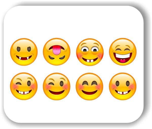 Strichgesicht - Emoticon - 8 verschiedene Motive - Freche Gesichter